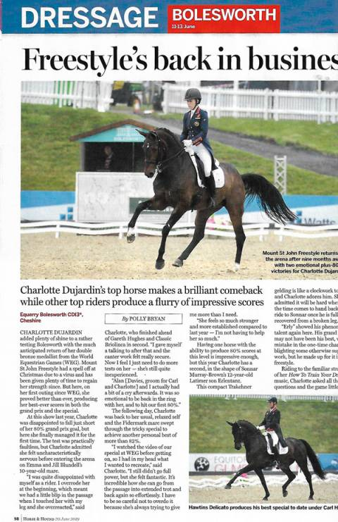 Horse & Hound June 2019 Freestyle back in business