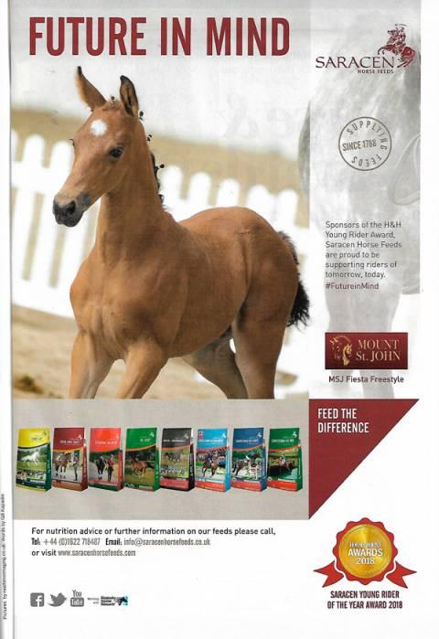 Horse & Hound August 2018 Saracen Feed advert MSJ Fiesta Freestyle