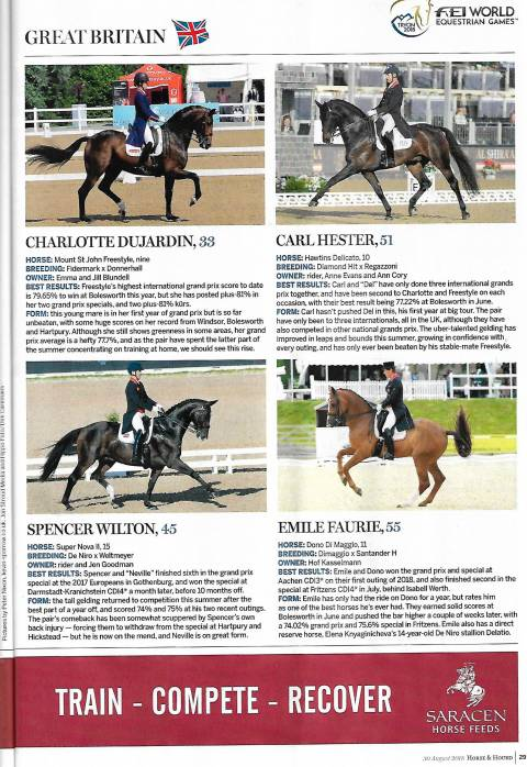 Horse &Hound August 2018 FEI world equestrian games Charlotte & Freestyle