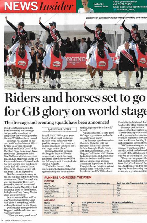 Horse & Hound August 2018 Riders & Horses set to go for GB glory on the world stage