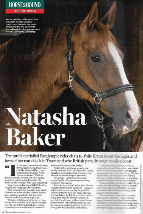Horse & Hound October 2018 Natasha Baker & Diva
